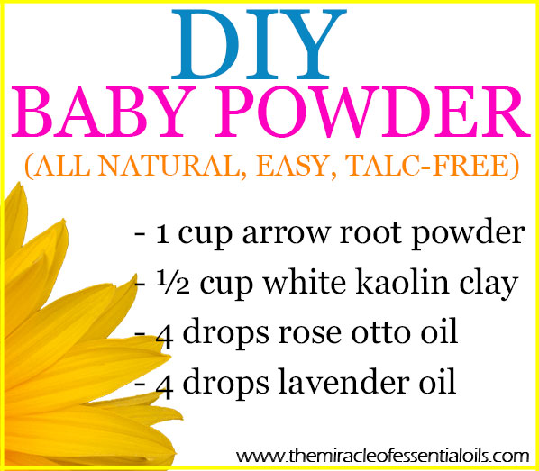Find out how to make an easy all natural and safe DIY Essential Oil Baby Powder with essential oils in this post!